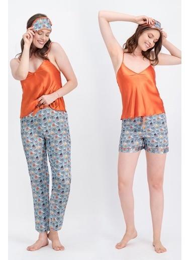 Arnetta Arnetta Cats Turuncu Kadın Askılı Saten Pijama Takımı, Şort, Uyku Bandı 4'Lü Takım Oranj